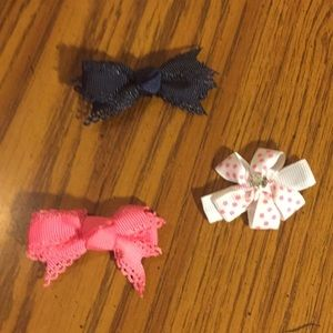 Bow tie hair clips 3 piece pink black white polka